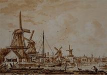 VII-155 Het Bosjeseiland in de richting van het Oostplein met op de voorgrond het Buizengat. Van links naar rechts van ...