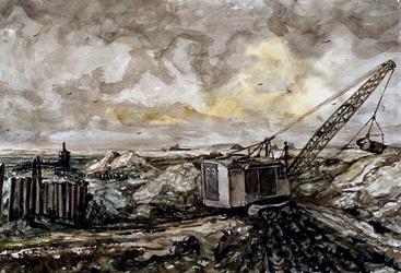 VII-168-00-00-02-1 Gezicht op het weggraven van de grond in verband met de aanleg van Europoort (in de Scheurpolder) te ...