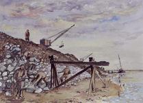 VII-168-00-00-114 Gezicht op het Calandkanaal met de bouw van een kademuur langs het Europoortgebied met de Nieuwe Waterweg.