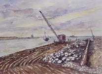 VII-168-00-00-115-1 Gezicht op het Calandkanaal met de werkzaamheden in het Europoortgebied, dichtbij de doorgraving ...
