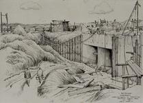 VII-168-00-00-118-1 Gezicht op de bouw van de Spuisluis in de dam van Rozenburg naar Oostvoorne in het zuidelijk ...