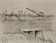 VII-168-00-00-118-2 Gezicht op de bouw van de Spuisluis in de dam van Rozenburg naar Oostvoorne in het zuidelijke ...