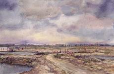 VII-168-00-00-14 Gezicht op de Noordbankpolder met de noodbrug. Op de achtergrond de Nieuwe Waterweg.