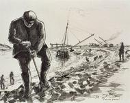 VII-168-00-00-184 De Europoort-zeehaven gezien uit het oosten met op de voorgrond dijkwerkers.