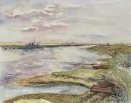 VII-168-00-00-208 Havens graven in Europoort op het terrein van het voormalige natuurreservaat De Beer gezien naar het ...
