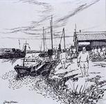 VII-168-00-00-23 Werklieden en schaftkeet bij Europoortgebied, uit het oosten.