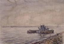 VII-168-00-00-31 Nieuw gegraven Europoorthaven in de Scheurpolder, uit het noordoosten.