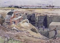 VII-168-00-00-32 Afbraak bunkers op Europoortgebied met op de achtergrond de Nieuwe Waterweg, uit het zuiden.