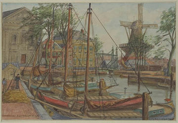 VII-178-00-01 Gezicht op het Haringvliet bij de Nieuwe Oostbrug, uit het noordwesten.