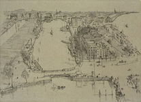 VII-183-13 Gezicht op het Haringvliet en de Oosterkade met de verwoeste omgeving vanaf het Witte Huis.