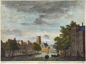 VII-192-01 Links Westnieuwland, rechts Open Rijstuin en op de achtergrond de Grote Kerk en de Korenbeurs.