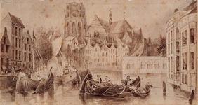 VII-202-01 Gezicht op de Kolk met Korenbeurs en Grote Kerk van de Kleine Draaibrug af, uit het zuidwesten.
