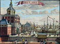 VII-234 De mond van de Leuvehaven met de Wester Nieuwe Hoofdpoort en de Ooster Nieuwe Hoofdpoort, uit het zuidwesten.