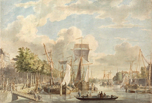 VII-241 Gezicht op de Leuvehaven uit zuidelijke richting vanaf een plaats nabij de Wittepoort. Links de huizen aan de ...
