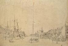 VII-243 Het zuidelijk deel van de Leuvehaven gezien uit noordelijke richting. Links, met torentje, de brouwerij De Twee ...