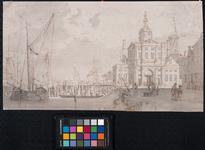 VII-250 De Leuvehaven met rechts daarvan de Wester Nieuwe Hoofdpoort of Wittepoort, gezien vanaf de westzijde van de ...