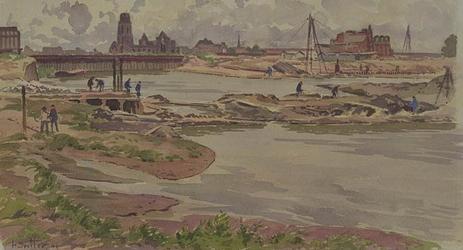 VII-292-03-21 Gezicht op de Leuvehaven uit het zuiden. Op de achtergrond de damwandafsluiting voor de bouw van de ...