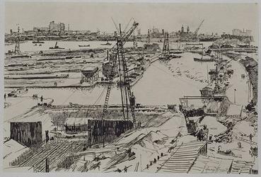 VII-292-03-50 Gezicht op de Leuvehaven in de geraseerde omgeving met op de voorgrond de bouwput van de Leuvesluis, uit ...