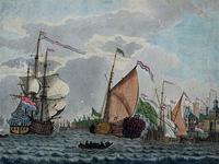 VII-295 Nieuwe Maas.Admiraliteitsjacht voor de Ooster Oude Hoofdpoort.