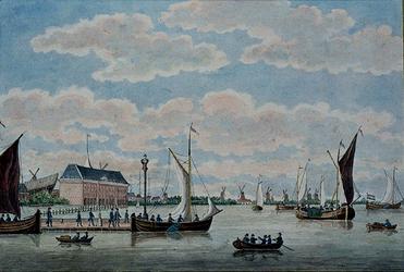 VII-300 De Nieuwe Maas voor het oostelijk deel van de stad, links het Admiraliteitsmagazijn, op de voorgrond de Oudehaven.