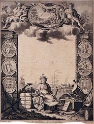 VII-301 Titelblad met allegorische voorstellingen.Gezicht op de Maas met het Oude Hoofd uit het oosten.Op de allegorie ...