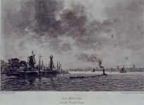 VII-312-02 Gezicht op de Nieuwe Maas.Mogelijk het havenhoofd van Delfshaven met molen de Destilleerketel. Rechts ...