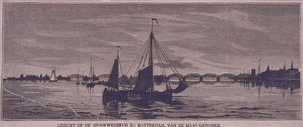 VII-322 Gezicht op de Spoorwegbrug en de Koningshaven, vanaf de Maas.