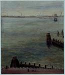 VII-354-21-1 Gezicht op de Nieuwe Maas bij de Veerhaven van het voormalig Maritiem Museum, uit het noordoosten.