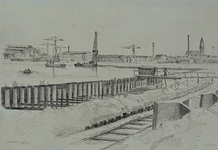 VII-372-08 Gezicht op het herstellen van de kademuur, langs de meest westelijke arm van de Merwehaven uit het ...