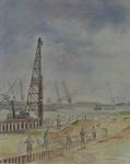 VII-372-09 Gezicht op het herstellen van de kademuur van de derde arm van de Merwehaven uit het oosten.