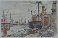 VII-372-24 Gezicht op de Merwehaven met de loskade van de firma Hudig & Pieters bij de Gustoweg, uit het noordwesten. ...