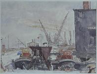 VII-372-26 Gezicht op de dwarswal van de 3de arm van de Merwehaven, uit het westen in de richting Rotterdam.