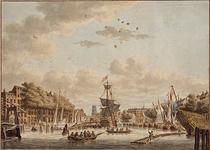 VII-400 De Oudehaven gezien vanaf of van nabij het oostelijk havenhoofd in noordelijke richting. Links de Geldersekade ...