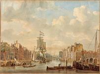 VII-402 Oudehaven, het noordelijk deel, gezien uit oostelijke richting vanaf de Spaansekade. Links de Geldersekade. In ...