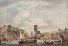 VII-407 De Oudehaven gezien vanaf of van nabij het oostelijk havenhoofd in noordelijke richting. Links de Geldersekade ...