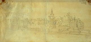 VII-408 Gezicht op de mond van de Oudehaven, met de Wester- en Ooster Oude Hoofdpoorten, vanuit het zuidwesten.