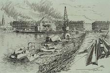 VII-460-11 Gezicht op de Rijnhaven met de herstellingswerkzaamheden aan de kademuren. Op de achtergrond hijskranen en ...