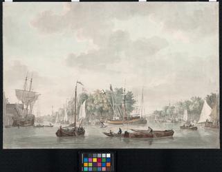 VII-463 In het midden de Punt met de kraan, links de Scheepmakershaven en rechts de Wijnhaven. In de verte links de ...