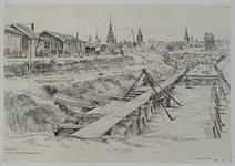VII-468-35 Gezicht op de bouwput voor het bouwen van de kademuren langs de Scheepmakershaven, uit het oosten. Op de ...