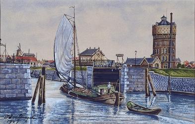 VII-470-01 Schiemond met de Ruigeplaatsluis en rechts de watertoren, uit het westen gezien.
