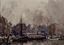 VII-488 De Steigersgracht, het latere Middensteiger genoemd, gezien vanuit het oosten. Op de achtergrond de Grotemarkt ...