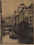 VII-497-02-1 Gezicht op de Steigersgracht uit het zuiden.Op de achtergrond aan de rechterkant steekt de toren van H. ...