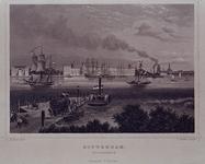 VII-506 Gezicht op de Willemskade, aan de Maas, vanaf de zuidelijke oever. Op de voorgrond het Katendrechtse veer.