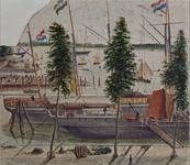 VII-509-01 Gezicht op de Veerhaven en omgeving tijdens een roeiwedstrijd, uit het noordwesten.