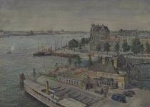 VII-514-05 Gezicht op de Veerhaven met het clubgebouw van de Roei- en Zeilvereniging De Maas , uit het oosten. Gezien ...