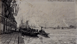 VII-53-01-3 Aankomst van passagiers aan de Wilhelminakade met een bootje van de Holland-Amerika Lijn.