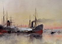 VII-554 Gezicht op de Nieuwe Maas met de zeeschepen aan de boei, overslag van goederen.