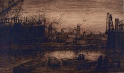 VII-557-01 Een havengezicht van Rotterdam.