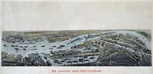 VII-80 Gezicht op Rotterdam in vogelvlucht met het zuidelijk stadsdeel op de voorgrond. Daarin links de Dokhaven, in ...