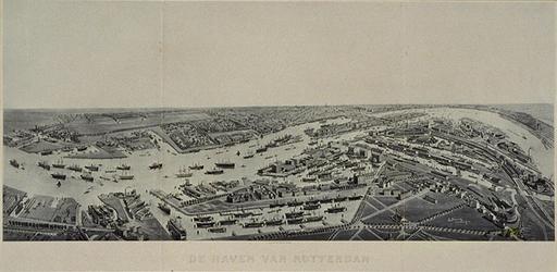 VII-88-31 Gezicht op Rotterdam in vogelvlucht met het zuidelijk stadsdeel op de voorgrond. Daarin links de Dokhaven, in ...